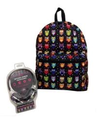 Рюкзак с наушниками Сова цвет черный мульти KZ9883480
